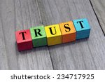 concept of trust word on wooden ... | Shutterstock . vector #234717925