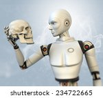Cyborg With Human Skull In His...