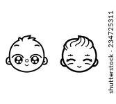 face baby newborn boy and girl...   Shutterstock .eps vector #234725311