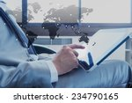 businessman using tablet with... | Shutterstock . vector #234790165
