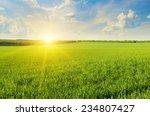 Field  Sunrise And Blue Sky