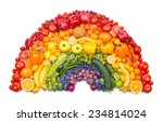 fruit and vegetable rainbow | Shutterstock . vector #234814024