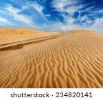 Desert Sand Dunes On Sunrise ...