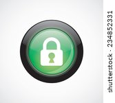 lock glass sign icon green...