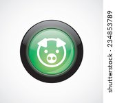 pig sign icon green shiny...