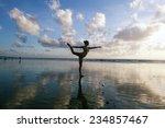 young woman practicing warrior... | Shutterstock . vector #234857467