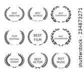 film awards  award wreaths on... | Shutterstock .eps vector #234873271