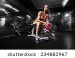 fitness girl with shaker posing ... | Shutterstock . vector #234882967