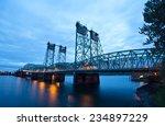 long metal truss arch bridge... | Shutterstock . vector #234897229