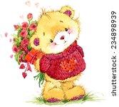cute teddy bear watercolor...   Shutterstock . vector #234898939