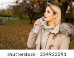 Young Woman Drinking Water In ...