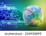 earth globe close in chain    | Shutterstock . vector #234930895