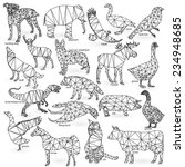 big animal set outline isolated  | Shutterstock .eps vector #234948685
