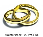 two gold rings isolated on a... | Shutterstock . vector #23495143