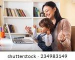 mother and her baby girl... | Shutterstock . vector #234983149