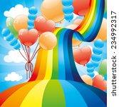Stock vector vector illustration rainbow and balloons 234992317