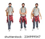 set of backpacker with his arms ... | Shutterstock . vector #234999547