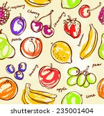 fresh fruit seamless pattern... | Shutterstock .eps vector #235001404