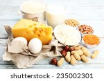 food high in protein on table ... | Shutterstock . vector #235002301
