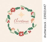 christmas greeting wreath with...   Shutterstock .eps vector #235021447