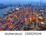 industrial port with containers | Shutterstock . vector #235029244