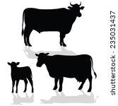 cow family silhouette with... | Shutterstock .eps vector #235031437