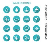water long shadow icons  flat