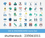 retro ski and snowboard icons... | Shutterstock .eps vector #235061011