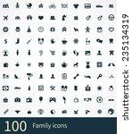 100 family icons set  black ... | Shutterstock . vector #235134319