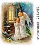 two angels outside a cottage... | Shutterstock . vector #2351453