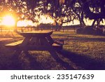 Wooden Picnic Table In Field...