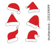 red christmas santa hat set | Shutterstock .eps vector #235159099