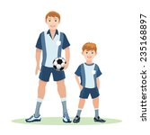 father with ball and son stand... | Shutterstock .eps vector #235168897