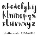 Modern Vector Watercolor Font Alphabet with Brushed Lettering Painted Letters