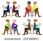 faceless men sitting down on a... | Shutterstock . vector #235180891