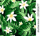 tropical lush flowers seamless... | Shutterstock .eps vector #235181677
