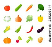 vegetables icons flat set with... | Shutterstock .eps vector #235209349