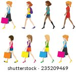 faceless ladies walking in one... | Shutterstock .eps vector #235209469