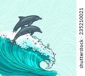 waves flowing water sketch sea... | Shutterstock .eps vector #235210021