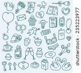 funny love icons. vector doodle ... | Shutterstock .eps vector #235223977