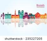 brussels skyline detailed...