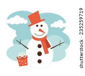 snowman and gift box  | Shutterstock .eps vector #235259719