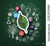 eco energy collage with icons... | Shutterstock .eps vector #235295989