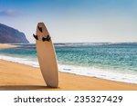 surfboard on the wild beach... | Shutterstock . vector #235327429