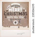vintage christmas greeting card ... | Shutterstock .eps vector #235336195