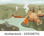 halt indians in prairie | Shutterstock .eps vector #235338751