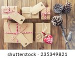 pine cones and some paper... | Shutterstock . vector #235349821