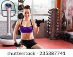 happy girl working on her...   Shutterstock . vector #235387741