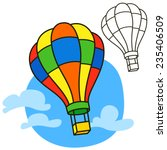 air balloon. coloring book page.... | Shutterstock .eps vector #235406509