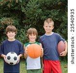 little boys with sports balls | Shutterstock . vector #23540935